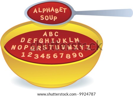 vector Alphabet Soup! Easily edit to spell your own message! - stock vector