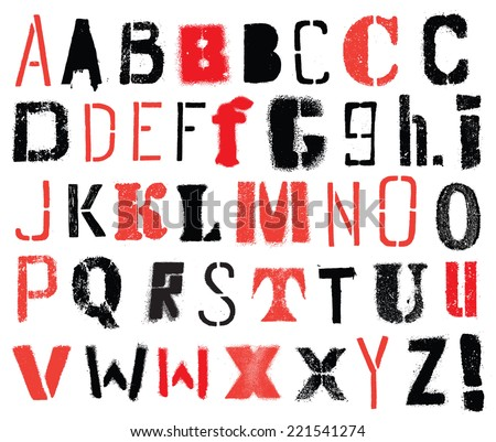 Vector alphabet. Stencil. Hand drawn letters.  - stock vector
