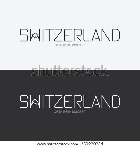 Vector alphabet switzerland design concept with flat sign icon/ can be used for travel publishing or web design layout. - stock vector