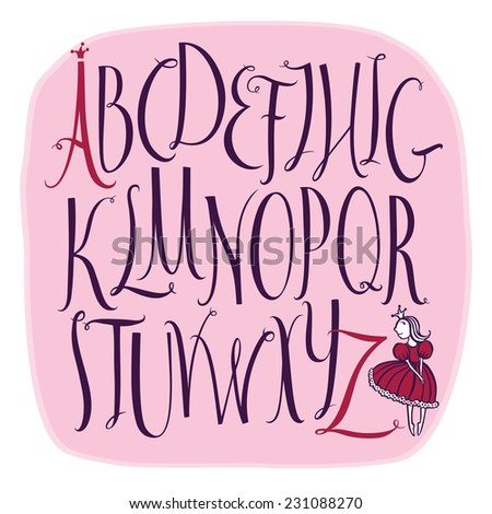 Vector alphabet with A Little Princess - stock vector