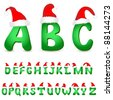 Vector alphabet with christmas hats - stock vector