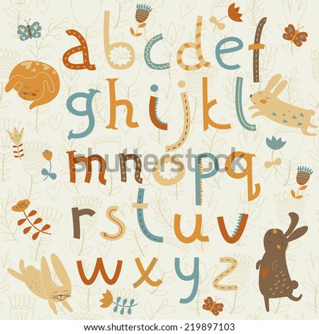 Vector alphabet with cute bunnies, flowers and butterflies in cartoon style