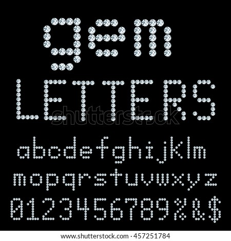 vector alphabet with diamonds, gemstone letters, gemstone font,
