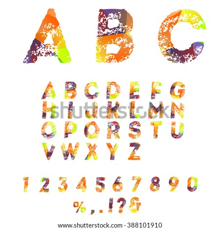 Vector alphabet with gradient effect letters.
