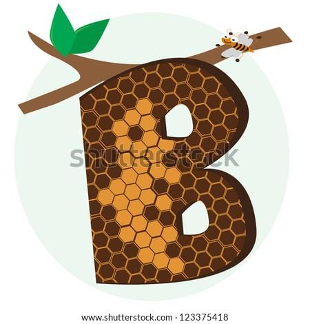 vector alphabetical of honeycomb - stock vector