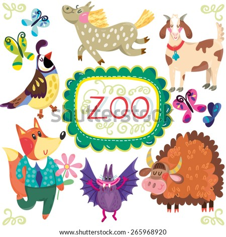 Vector amazing colorful set of funny and adorable animals. Set number 4 - stock vector