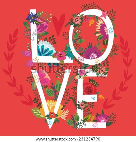 "Vector amazing Illustration of Floral Letters ""Love"" - stock vector"