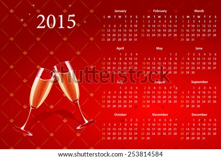 Vector American calendar 2015 with champagne, starting from Sundays - stock vector