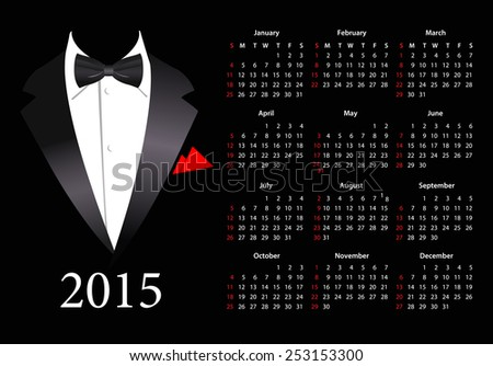 Vector American calendar 2015 with elegant suit, starting from Sundays - stock vector