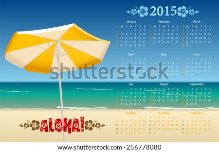 Vector American calendar 2015 with tropic beach, starting from Sundays - stock vector