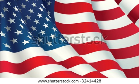 Vector American flag - stock vector