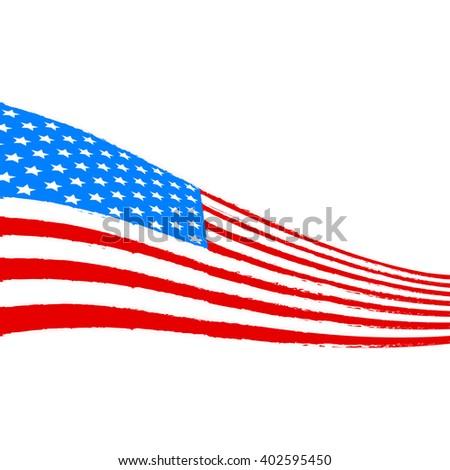 Vector american flag illustration banner - stock vector