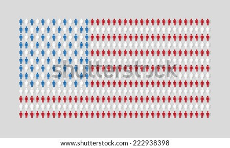 vector american flag with many man figurines texture - stock vector