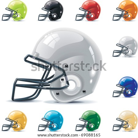 Vector American football / gridiron icon set. Part 2 â?? Helmets - stock vector