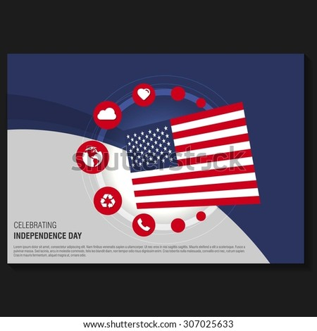 Vector american Independence Day Horizontal Flyer template. Creative Brochure Title Page. National Day Leaflet design element. vector illustration