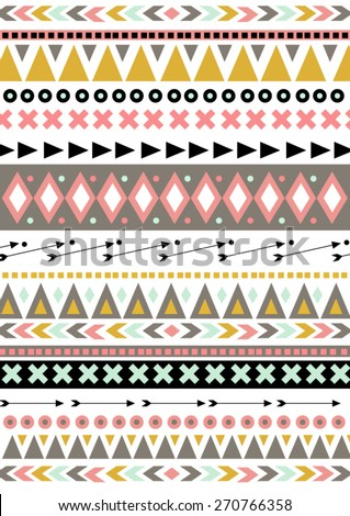 Vector American Indian Aztec Mayan ethnic border background. It  can be used for wallpaper, web page background, surface textures - stock vector