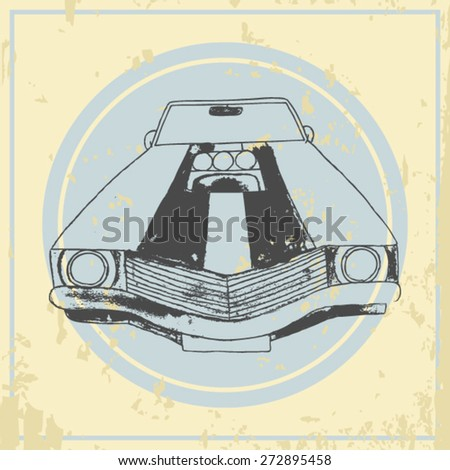 vector american muscle car. retro car. hand drawn car - stock vector