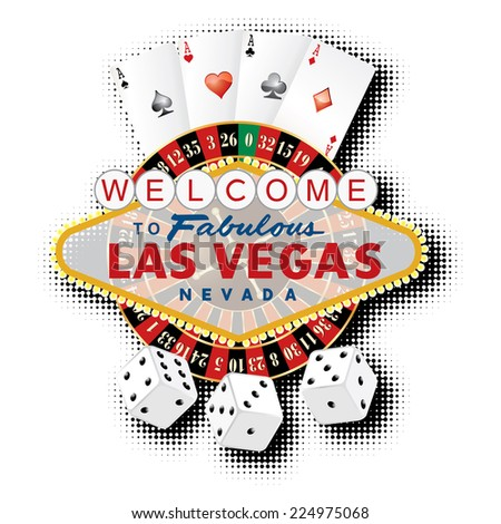 vector american roulette wheel with Las Vegas sign, playing cards and dice  - stock vector