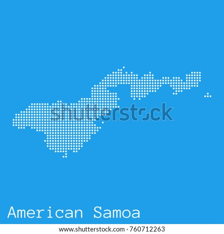 Vector American Samoa Map Silhouette Dotted Stock Vector - Samoa map vector