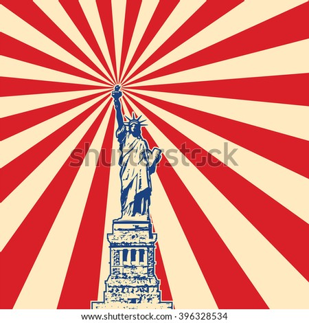 vector american symbol of New York statue of liberty with starburst - stock vector