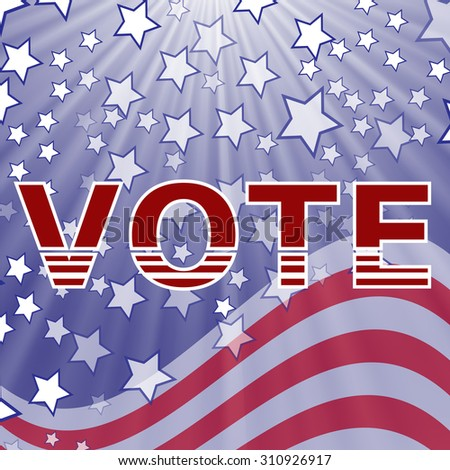 Vector American Vote Text on Blue Starry Background. Election Vote.