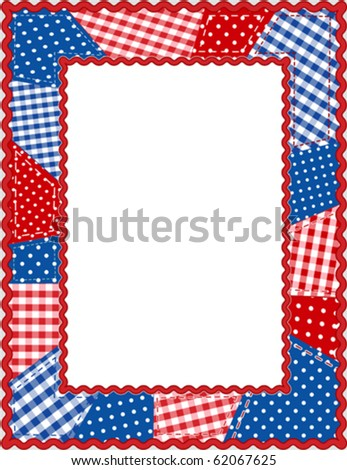 vector - Americana Patchwork Frame. Patriotic red, white & blue gingham & polka dots, rick rack oval frame. Copy space for posters, fliers, albums, scrapbooks. EPS8 in groups for easy editing. - stock vector