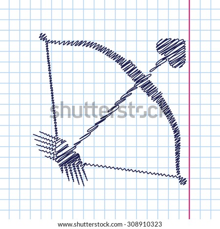 Vector amour arrow icon isolated on copybook background. Eps10
