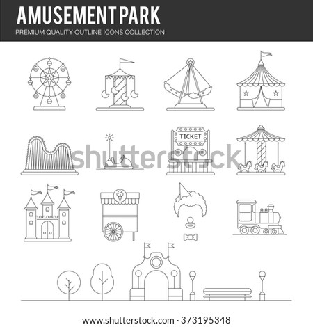 Vector amusement park icon set in linear style. Landscape with a Ferris wheel, roller coaster, carousel, castle, ice cream, clown, tent, train, ticket, trees, bench. Template for your design