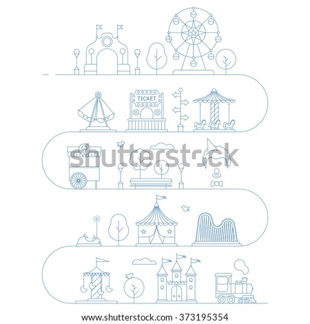 Vector amusement park illustration in linear style. Landscape with a Ferris wheel, roller coaster, carousel, castle, ice cream, clown, tent, train, ticket, trees, bench. Template for your design - stock vector