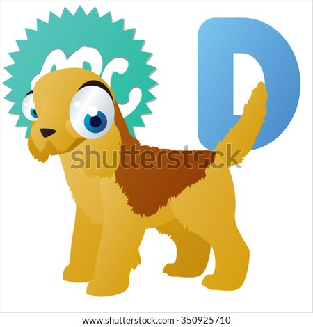 vector amusing dog breed. D is for Dog - stock vector