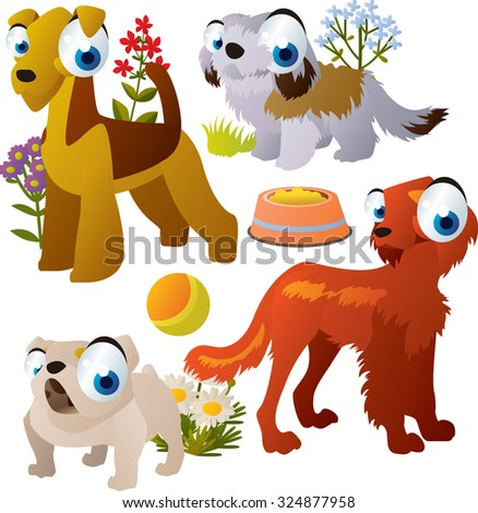Vector amusing dog breeds: setter, bulldog, zuchon and airedale terrier