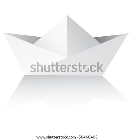 Vector An origami ship on a white background. paper ships isolated on white - vector