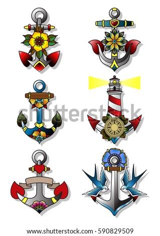 Vector anchor set traditional tattoo designs stock vector 590829509 vector anchor set traditional tattoo designs maxwellsz