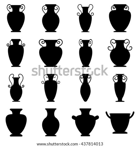 Vector Ancient Black Greek Vases Set Stock Vector Royalty Free