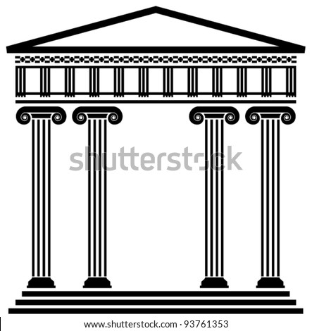 vector ancient greek architecture with columns - stock vector