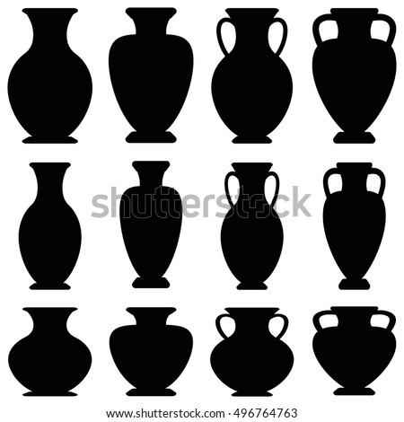 Vector Ancient Greek Vases Set Amphora Stock Vector Royalty Free