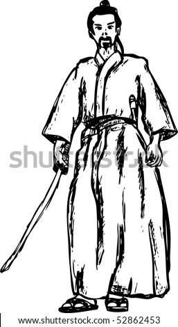 vector - ancient samurai isolated on background - stock vector