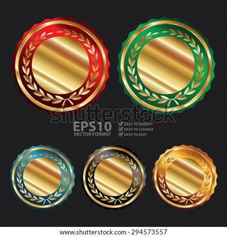 Vector : and Gold Blank Circle Metallic Laurel Wreath Label, Sticker, Banner, Sign or Icon