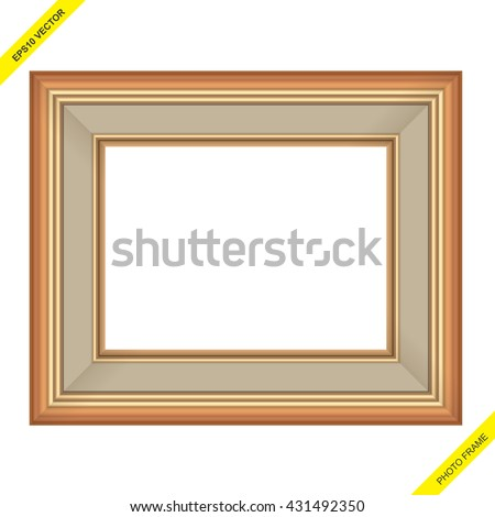 Vector and illustration of an antique golden and wooden photo frame or
