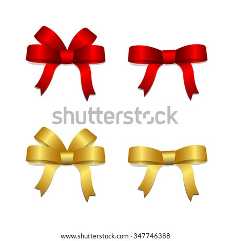 Vector and illustration of Red and Gold ribbon bows for gift decoration for Christmas, New Year, Valentine and Birthday - stock vector