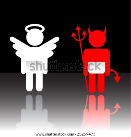 Vector angel and devil - stock vector