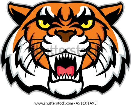 vector angry tiger face stock photo photo vector illustration rh shutterstock com cartoon tiger face roaring cartoon tiger face cute