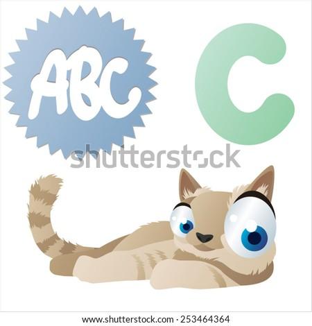 vector animal cartoon comic abc: C is for Cat - stock vector