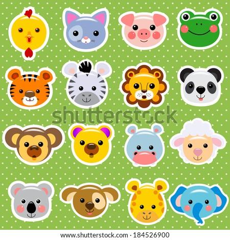 Vector animal faces sticker collection  - stock vector