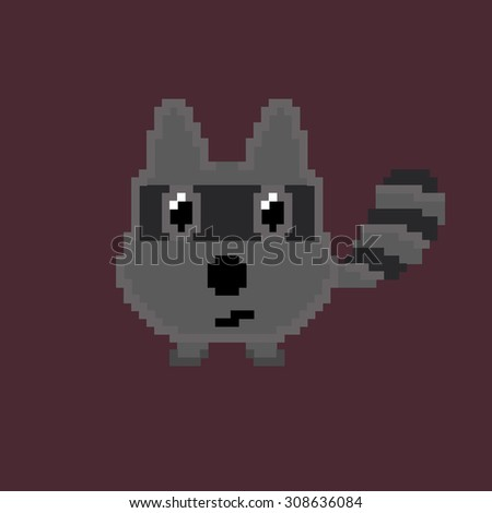 Vector animal icon. The raccoon on dark  for design children games .