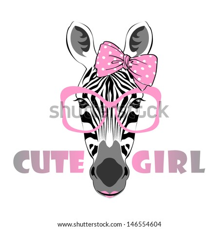 vector animal portrait, zebra in pink glasses with bow, cute girl - stock vector