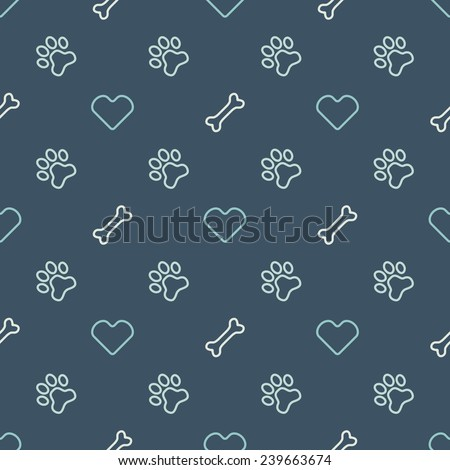 Vector animal seamless pattern of paw footprint, bone and heart - endless texture in dog or cat style - stock vector