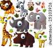 vector animal set: african animals - stock photo
