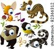 vector animal set: chihuahua, zibeth, monkey, titmouse, newt - stock vector