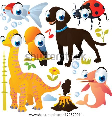 Vector animal set: Dog, Dinosaur, Ladybug, Bird, Dolphin, Goldfish - stock vector